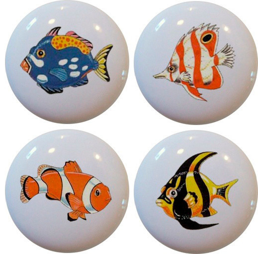 Set of 4 Tropical Fish Cabinet Drawer Knobs - Beach Style - Cabinet And Drawer Knobs