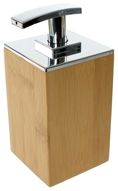 Bamboo wood soap dispenser contemporary soap lotion for Bathroom soap dispensers bath accessories
