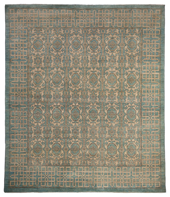 Khotan Wool Area Rug Blue 8x10 Craftsman Area Rugs
