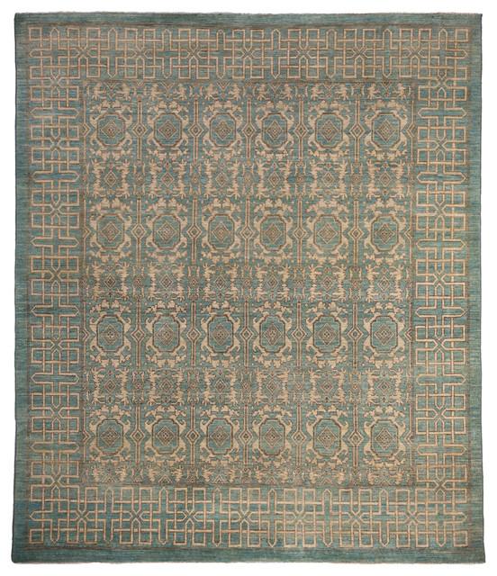 Khotan Wool Area Rug Blue 8x10 Craftsman Area Rugs
