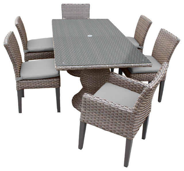 Harmony Rectangular Outdoor Patio Dining Table With 6 Chairs Contemporary
