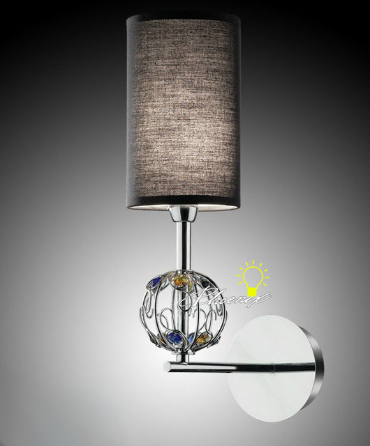 Modern Fabric Wall Lights : Modern Fabric and Crystal Wall Sconce in Chrome Finish - Contemporary - Wall Sconces - new york ...