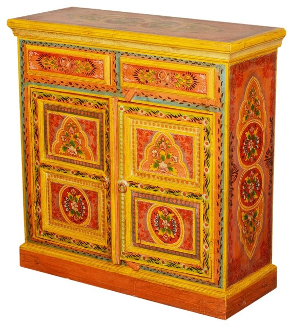 Sun Garden Orange Hand Painted Mango Wood Buffet Cabinet - Eclectic - Accent Chests And Cabinets ...