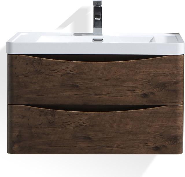 Smile 24 Rosewood Wall Mounted Modern Bathroom Vanity W 2 Drawers 32i