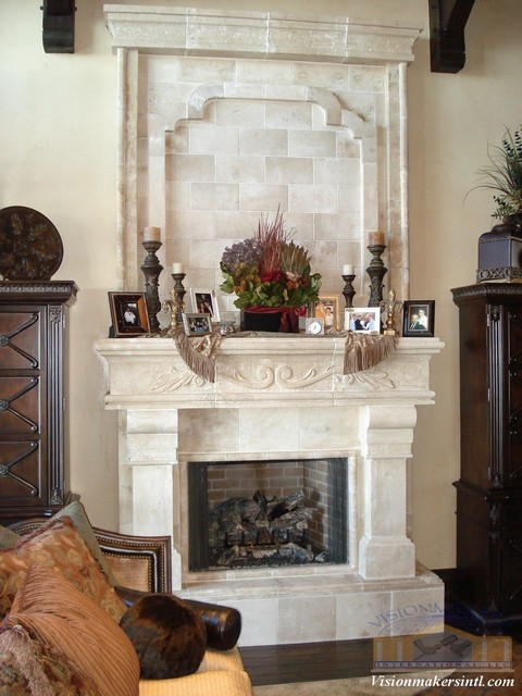 fireplace with bookshelves on either side when