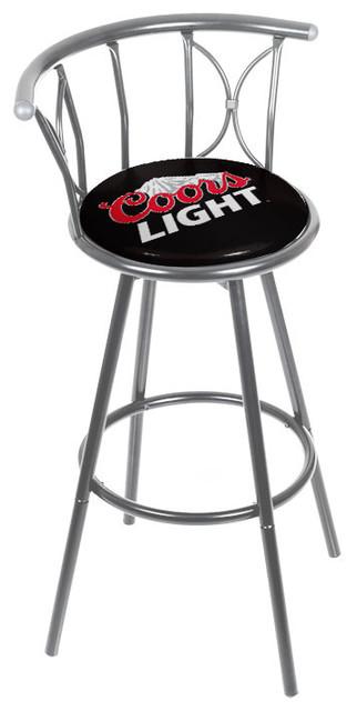 Coors Light Weatherproof Padded Outdoor Bar Stool Silver