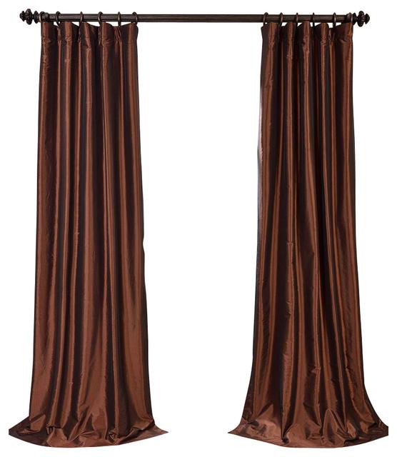 Copper Curtain Wall : Copper brown blackout faux silk taffeta curtain single