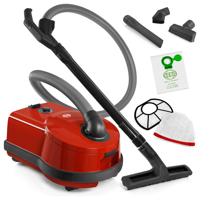 sebo d4 red airbelt canister vacuum cleaner with bare. Black Bedroom Furniture Sets. Home Design Ideas