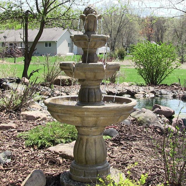 Tiered Contemporary Urban Garden: Sunnydaze Three-Tier Outdoor Water Fountain, 48 Inch Tall