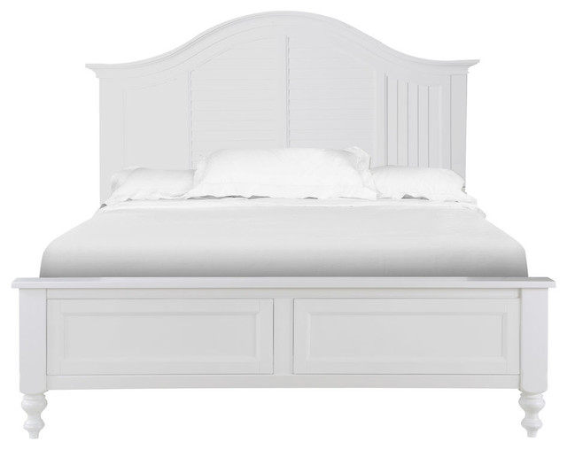 Cape Maye Cottage Pristine White Wood Queen Panel Bed