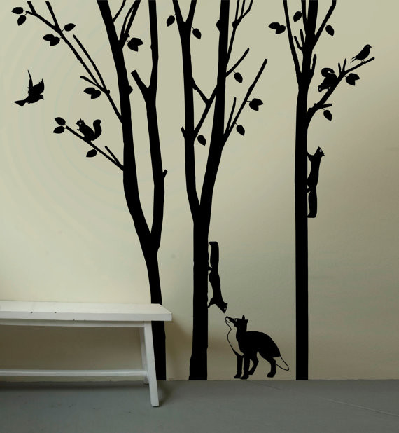 fox and squirrels in woodlands large removable wall decal by artitude u art contemporary