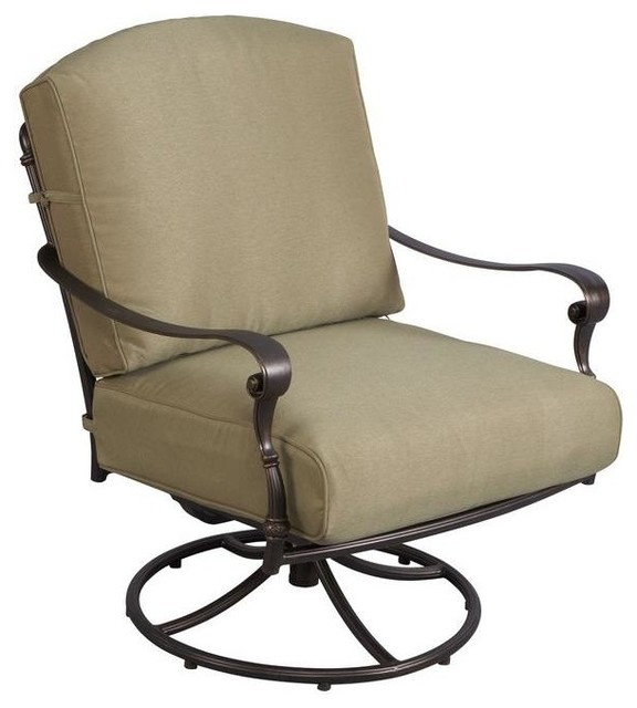 Hampton Bay Chairs Edington Patio Swivel Rocker Lounge Chair with Celery cont