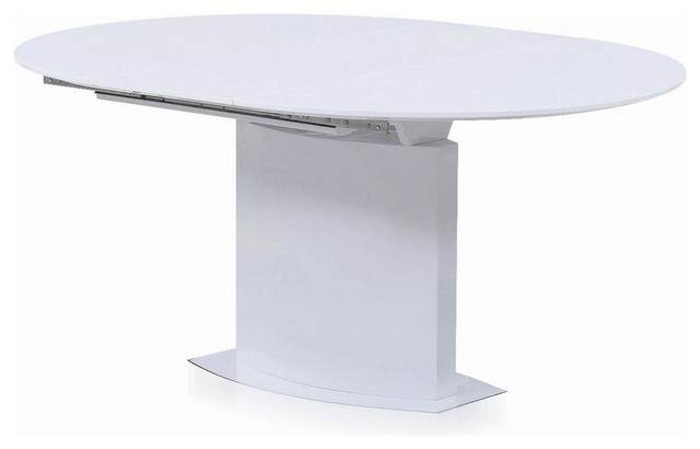 oval extendable dining table  white lacquer
