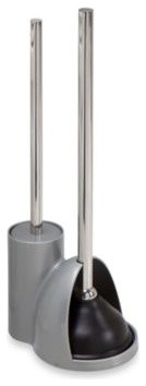 interdesign alto toilet bowl brush plunger in silver contemporary toilet plungers holders. Black Bedroom Furniture Sets. Home Design Ideas