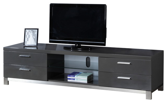 Natasha High-Gloss Grey/ Stainless Steel Modern TV Stand - Contemporary - Entertainment Centers ...
