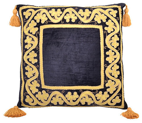 Consigned Vintage Pillow w/ Black Velvet Design - Traditional - Decorative Pillows - Other - by ...