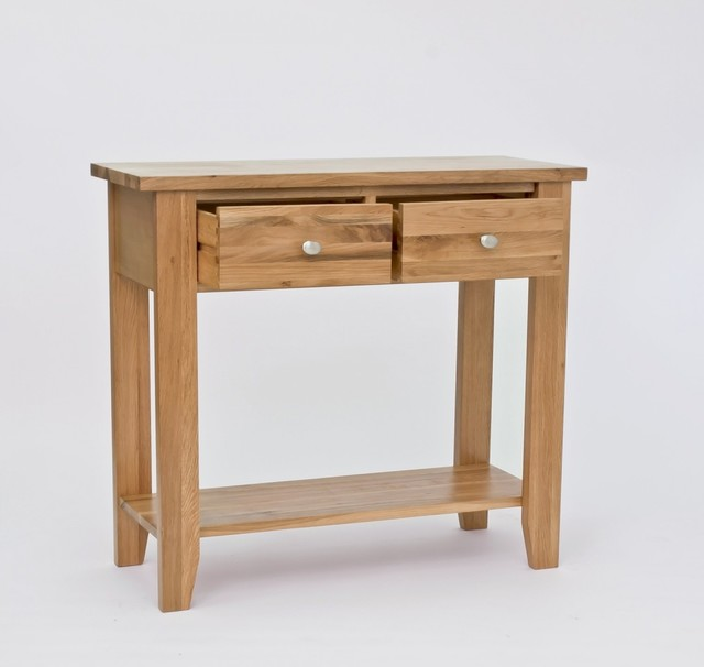 Solid lansdown oak 2 drawer console table with 2 drawers - Contemporary console tables with drawers ...
