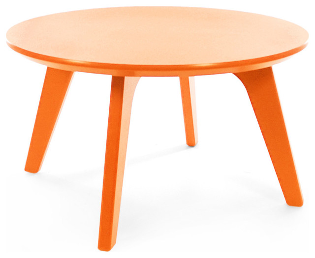 Satellite end round 26 table sunset orange contemporary for Orange outdoor side table