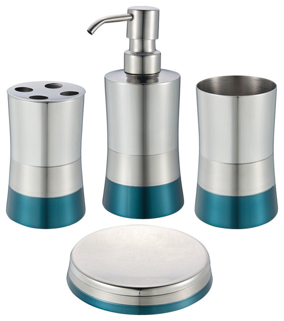 Shiny matte 4 piece bathroom set blue contemporary for Cream bathroom accessories set