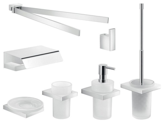 Complete wall mounted chrome bathroom accessory set for Complete bathroom accessories sets