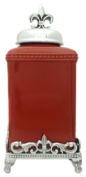 Fleur de lis canister set small traditional kitchen canisters and jars by trends - Fleur de lis canisters ...