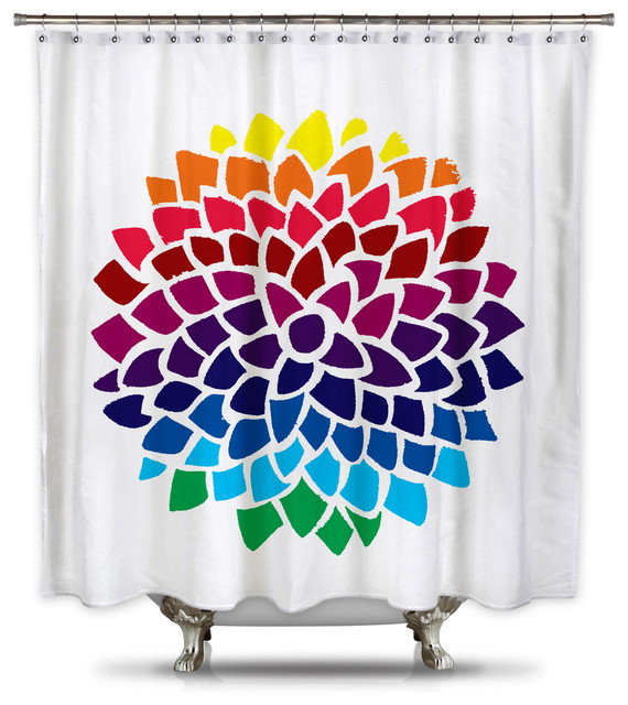 Catherine Holcombe Rainbow Dahlia Fabric Shower Curtain Standard Size Contemporary Shower