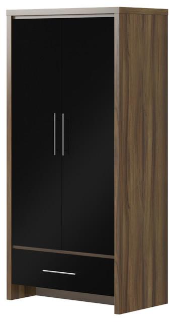 london walnut and black gloss 2 door 1 drawer wardrobe. Black Bedroom Furniture Sets. Home Design Ideas