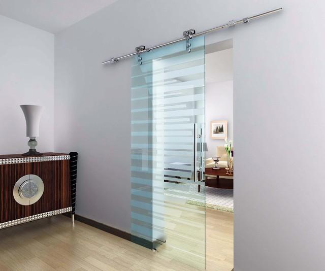 Modern barn door hardware for glass door modern for Contemporary interior barn doors
