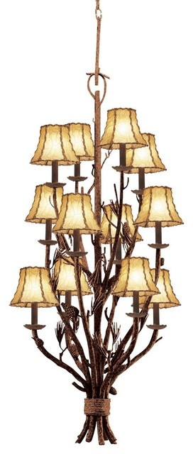 12 light 3 tier foyer rustic pendant lighting by kalco lighting