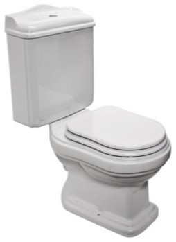 Classic Style White Ceramic Floor Toilet With Seat And Cover Traditional