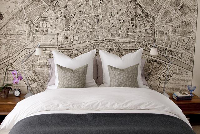 Map of paris horizontal mural contemporary wallpaper for Paris wallpaper for bedroom