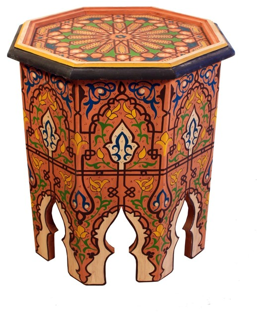 Moroccan Hand Painted Side Table Hp309 1 Mediterranean .
