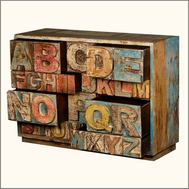 Hand Carved Abc Reclaimed Wood 10 Drawer Dresser Chest