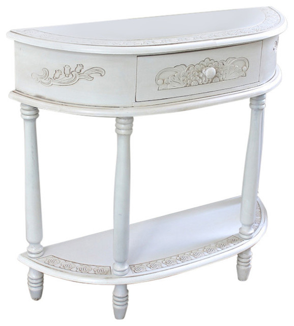 Half Wall Table: Carved Half Moon Wall Table,Antique White