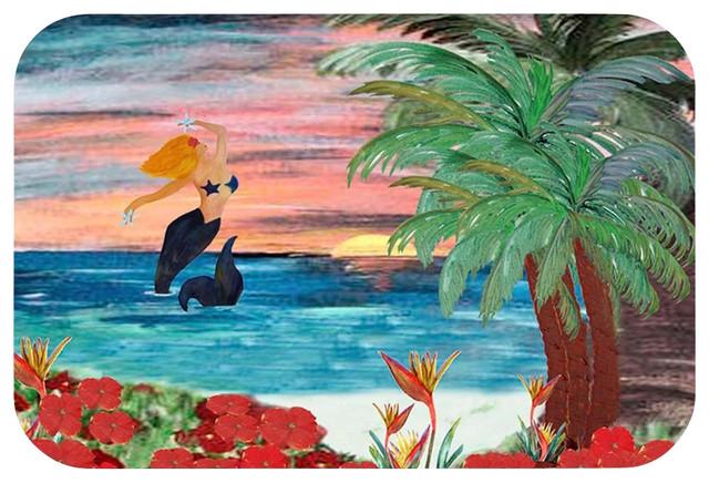 """Mermaid Rising Bath Mat, 20"""" X 15"""" tropical-bath-mats"""
