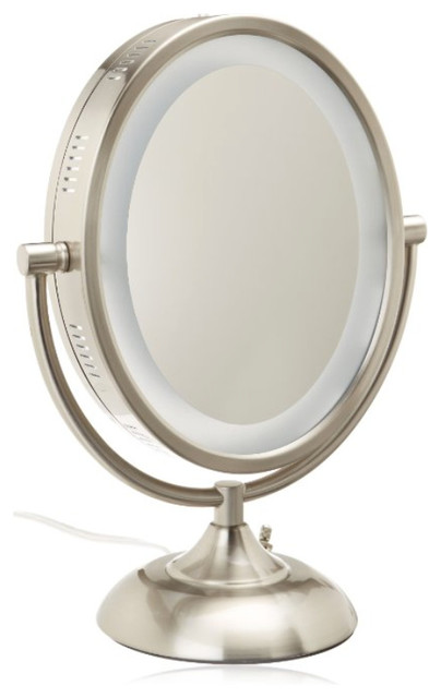 Jerdon HL955N 8 Inch Tabletop Two Sided Swivel Oval Halo Lighted Vanity Mirro