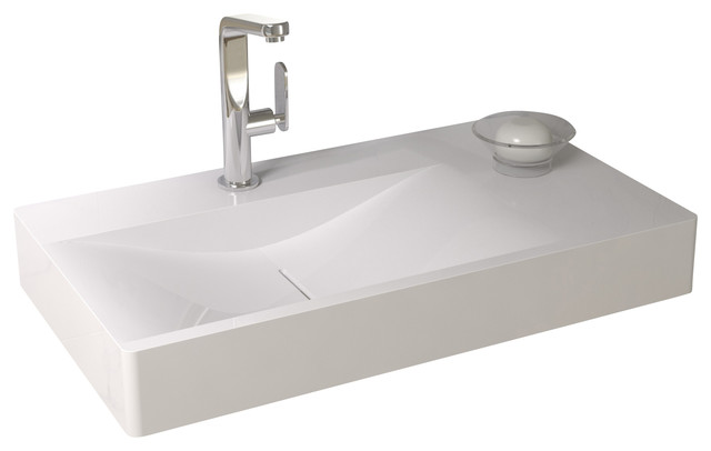 Resin Bathroom Sinks : ... Surface Stone Resin Wall Hung Sink, Matte contemporary-bathroom-sinks