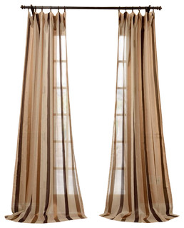 Stripe sheer curtain traditional curtains by half price drapes - Carlton Taupe Linen Blend Stripe Sheer Curtain Single
