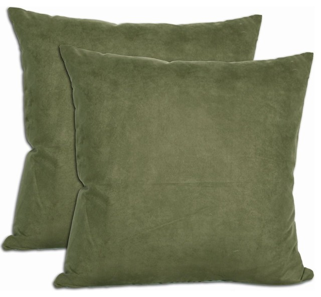 Green Microsuede Feather and Down Filled Throw Pillows (Set of 2) - Contemporary - Decorative ...