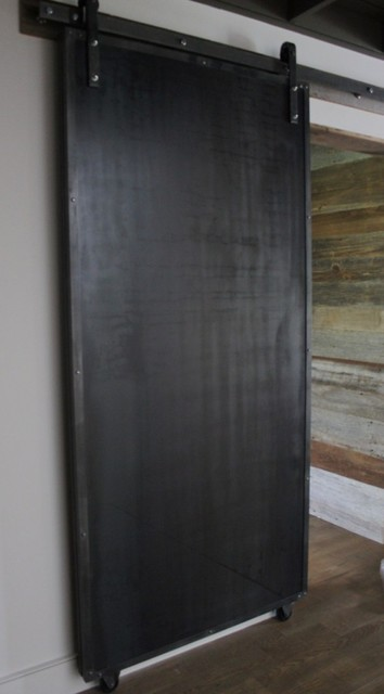 Sliding doors reclaimed wood raw steel modern for Recycled interior doors