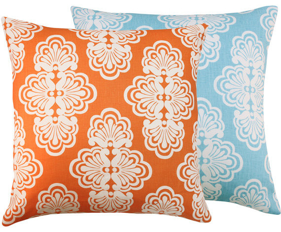Shell We Lilly Pulitzer Orange Blue Throw Pillow, 20x20
