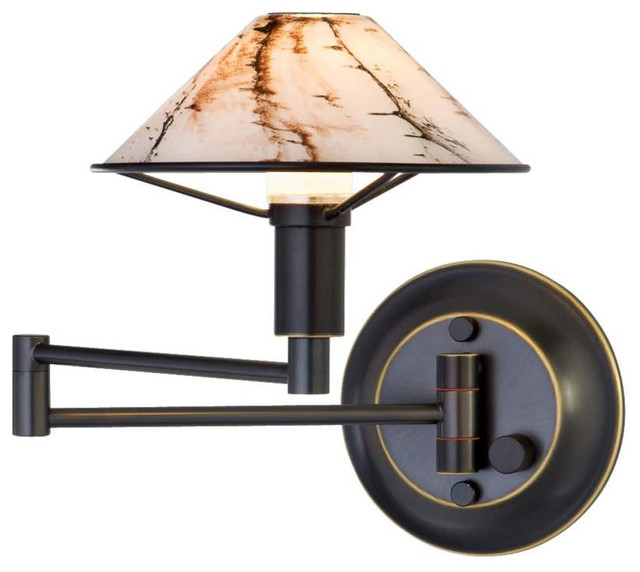 Contemporary Wall Lamps Swing Arms : Aging Eye Glass Shade Swing Arm Wall Lamp - Modern - Swing Arm Wall Lamps - by Lightology