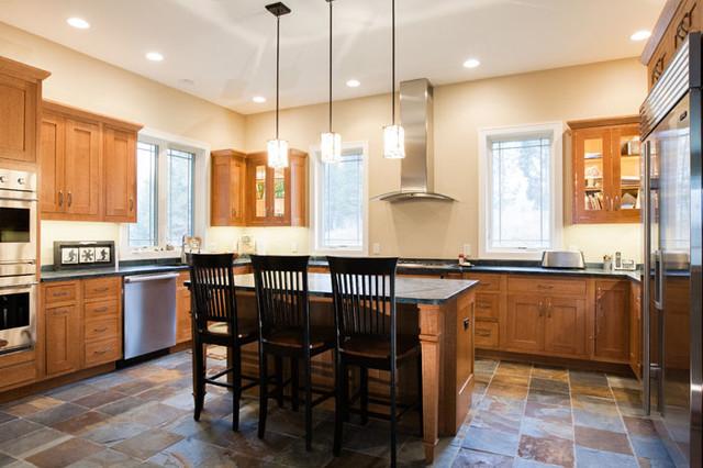 Shaker Style Kitchen With Slate Floor Craftsman