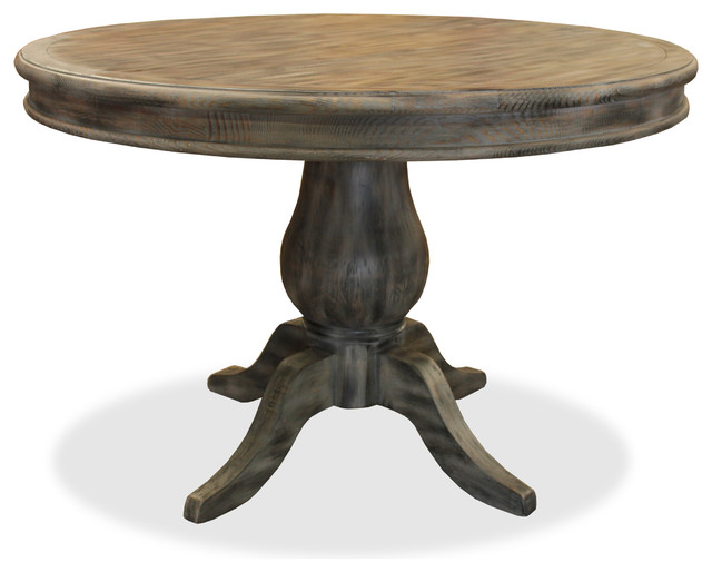 Luke 48 Round Reclaimed Wood Table Grey Antique Finish