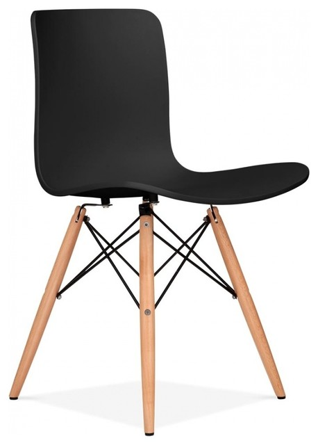 Berlin Dining Chair With Dsw Wood Legs Black