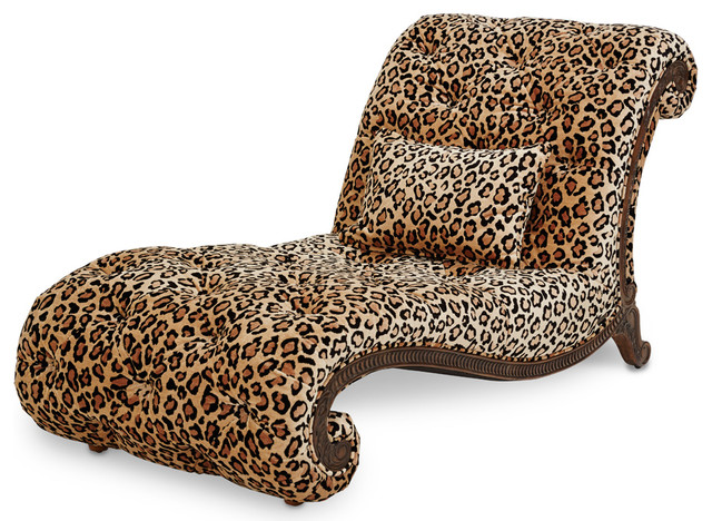 Victoria Palace Armless Leopard Chaise Traditional