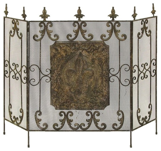 Classic Antique Metal Fireplace Screen Brass Floral Art Living Room Decor 69271 Traditional