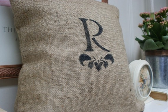 Eclectic Mix Of Pillows : Monogrammed Burlap Pillow Cover by myadobecottage on Etsy - Eclectic - Decorative Pillows - by Etsy