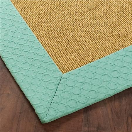 Exclusive pressed circle border sisal rug aqua for Exclusive bordering