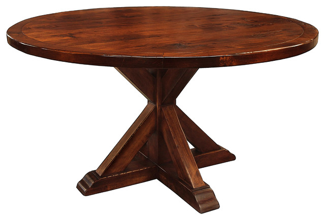 Round Table For 4 Diameter: Seth Recycled Wooden Round Dining Table, Chestnut, 60